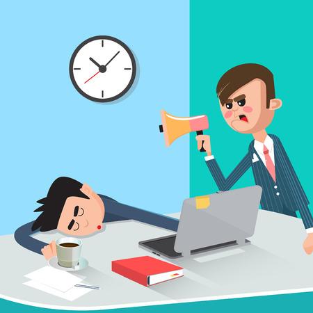 jefe enojado: Lazy negocios que duerme en el trabajo. Enojado jefe descubrió Dormir trabajador. ilustración vectorial Vectores