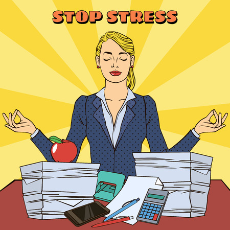 Businesswoman in Yoga Pose. Multitasking Work at Office. Pop Art. Vector illustration Illustration