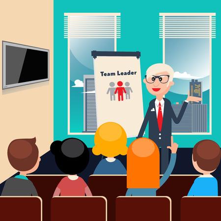 team leader: Team Leader. Business Presentation. Business Meeting. Vector illustration Illustration