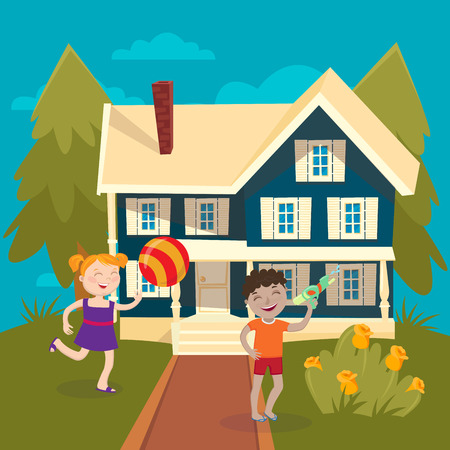 girl gun: Happy Girl Playing Ball near the House. Boy Playing Water Gun. Summer Children Vacation. Vector illustration