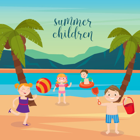 sand beach: Children Sea Vacation. Girls and Boys Playing on the Beach. Vector illustration