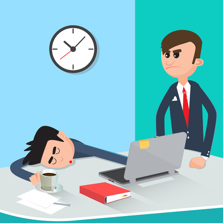 routine: Lazy Businessman Sleeping at Work. Angry Boss Found Sleeping Worker. Vector illustration Illustration