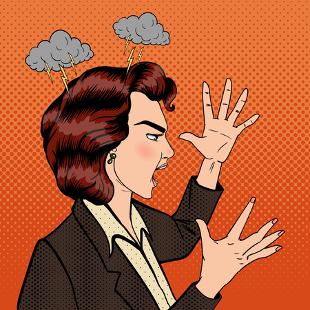 furious: Angry Woman. Furious Girl. Shouting Woman. Pop Art Banner. Vector illustration Illustration
