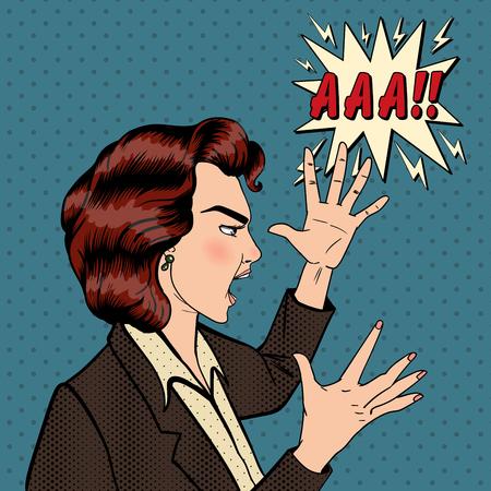 bad girl: Angry Woman. Furious Girl. Shouting Woman. Pop Art Banner. Vector illustration Illustration