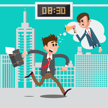 hurry: Businessman Late for Work. Angry Boss Screaming in Megaphone. Man Hurry to Work. Vector illustration