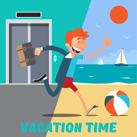 Businessman Runs Away from the Office to the Vacation. Vector illustration