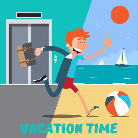 El hombre de negocios se escapa de la Oficina para las vacaciones. ilustración vectorial