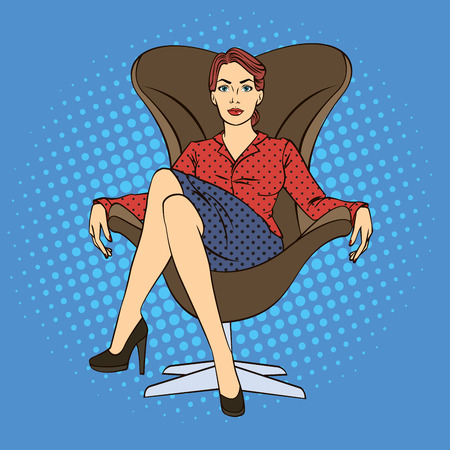 sitting on chair: Successful Business Woman. Woman Sitting in Luxury Chair. Pop Art. Vector illustration