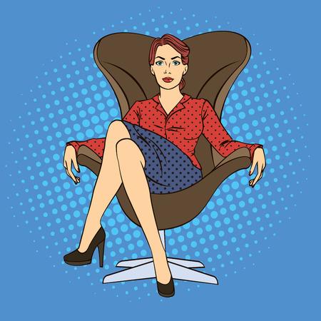 Erfolgreiche Geschäftsfrau. Frau sitzt im Luxus-Stuhl. Pop-Art. Vektor-Illustration