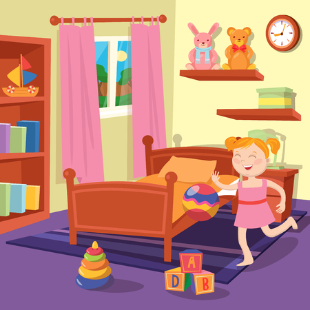 cartoon clock: Happy Girl Playing Ball in Children Bedroom. Bedroom Interior with Toys. Vector illustration