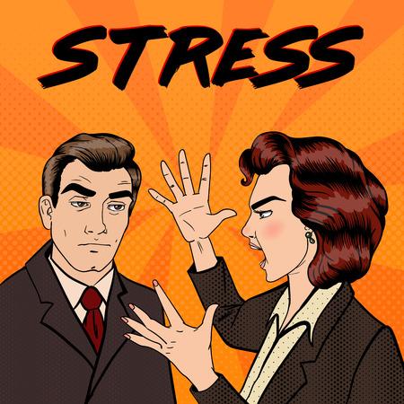 dispute: Dispute Between Man and Woman. Family Conflict. Bad Relationships. Pop Art. Vector illustration