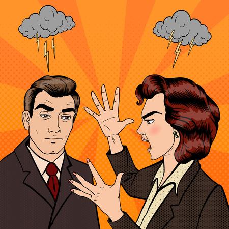 男と女の間の紛争。家族の対立。悪い関係。ポップアート。ベクトル図  イラスト・ベクター素材