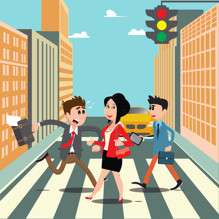 hurry: People on the Crosswalk. Businessman Hurry to Work. Vector illustration Illustration