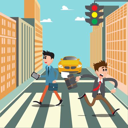 People on the Crosswalk. Businessman Hurry to Work. Vector illustration Vector Illustration