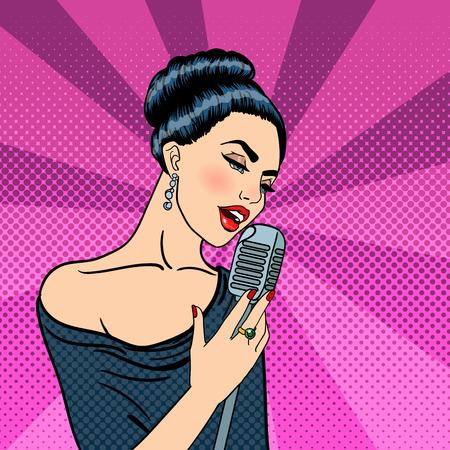 Canto de la mujer. Hermosa mujer joven con el micrófono. Arte pop. ilustración vectorial Ilustración de vector