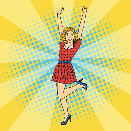 Happy Woman. Young Beautiful Woman with Raised Hands Up. Pop Art. Vector illustration