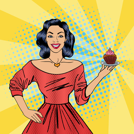 mom and pop: Beautiful Woman Holding a Plate with Cake. Housewife with Cupcake. Pop Art. Vector illustration