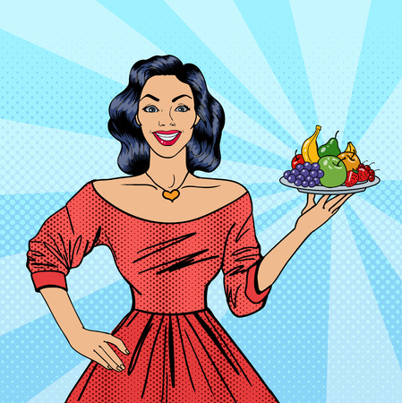 mom and pop: Beautiful Woman Holding a Plate with Fruits. Housewife with Fruits. Pop Art. Vector illustration