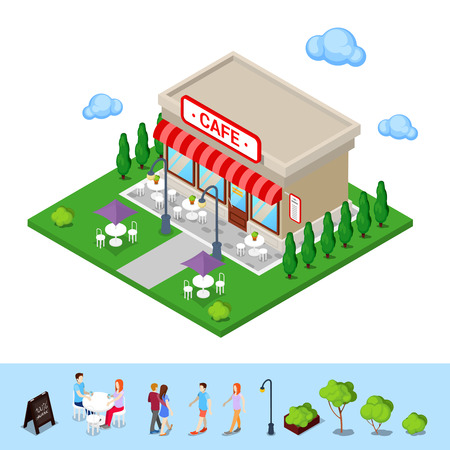 Isometric City. City Cafe with Tables and Trees. Vector illustration