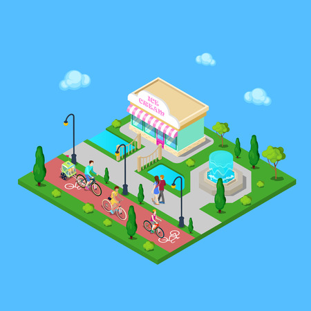 city park: City Park with Bicycle Path. Family Riding on the Bicycles. Active People. Vector illustration