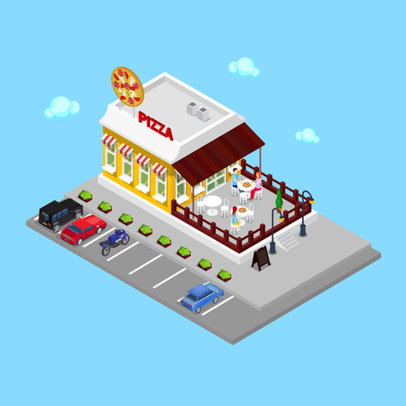 restaurant table: Isometric Pizzeria. Modern Restaurant with Parking Zone. People in Pizzeria. Vector illustration
