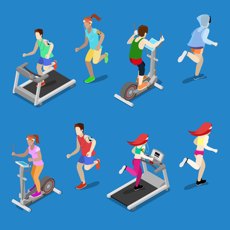 running: Isometric People. Man and Woman Running on Treadmill in Gym. Running People. Vector illustration Illustration
