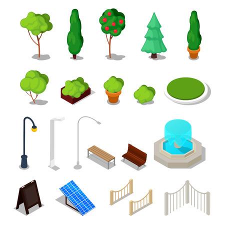 Ciudad Instalaciones isométricos. Diferentes cosas urbano con árboles, Banco, Luz y Fuente. ilustración vectorial