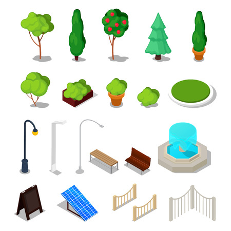 Isometric City Facilities. Different Urban Stuff with Trees, Bench, Light and Fountain. Vector illustration Illustration
