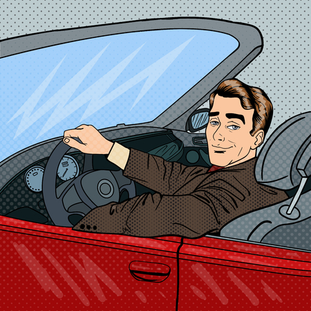 Successful Businessman in Luxury Car. Man Driving a Cabriolet. Pop Art. Vector illustration