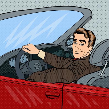 El hombre de negocios exitoso en coches de lujo. La conducción de un hombre cablet. Arte pop. ilustración vectorial