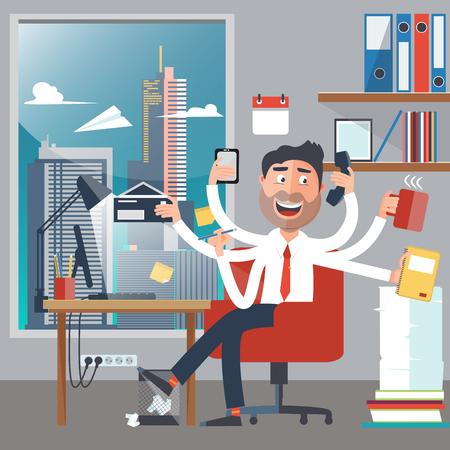 telefono caricatura: Multitarea hombre de negocios en el trabajo en la oficina. El hombre feliz tiene seis brazos realizar tareas de oficina. ilustración vectorial Vectores