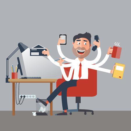 multitasking: Multitasking Business Man at Work in Office. Happy Man has Six Arms Doing Office Tasks. Vector illustration