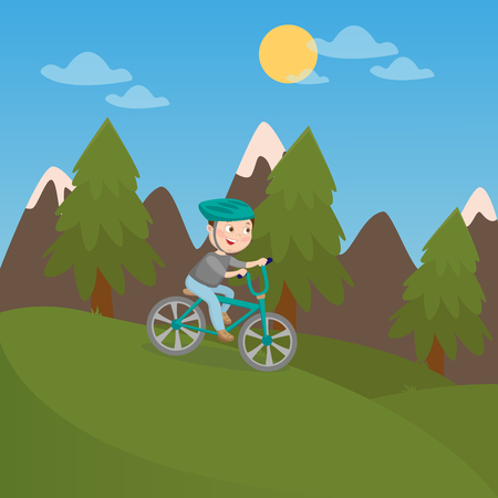 jungle boy: Happy Boy Riding Bicycle in Mountains. Children Vacation. Vector illustration