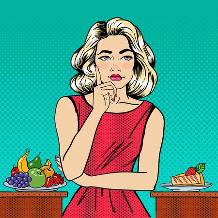 cheesecake: Beautiful Woman Choosing Food Between Fruits and Cheesecake. Pop Art. Vector illustration