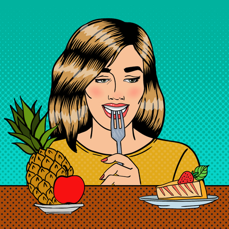 Beautiful Woman Choosing Food Between Fruits and Cheesecake. Pop Art. Vector illustration