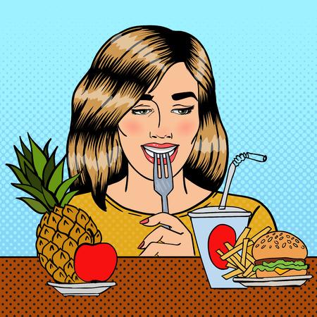soda pop: Beautiful Woman Choosing Food Between Fruits and Fast Food. Pop Art. Vector illustration