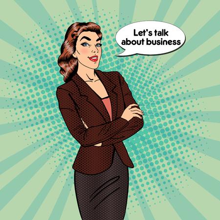 Mujer de negocios confidente. Sonriendo gerente femenina. Arte pop. ilustración vectorial Ilustración de vector
