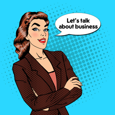 Confident Business Woman. Smiling Female Manager. Pop Art. Vector illustration Ilustracja