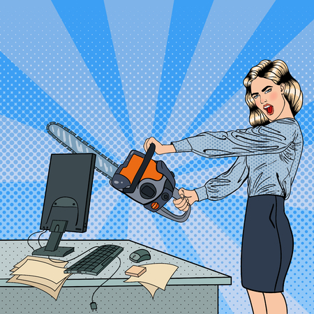 mad: Angry Business Woman Crashes her Computer with Chainsaw. Pop Art. Vector illustration