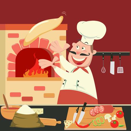 cuchillo de cocina: Chef se hace la pizza en el horno. Pizzeria Cocina. ilustración vectorial