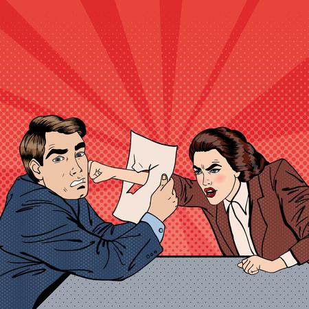 Conflict tussen zakenman en zakenvrouw. Onenigheid over zakelijke onderhandelingen. Pop Art. vector illustratie