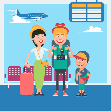 departure: Happy Family Vacation. Young Family Waiting to Departure in Airport. Vector illustration Illustration