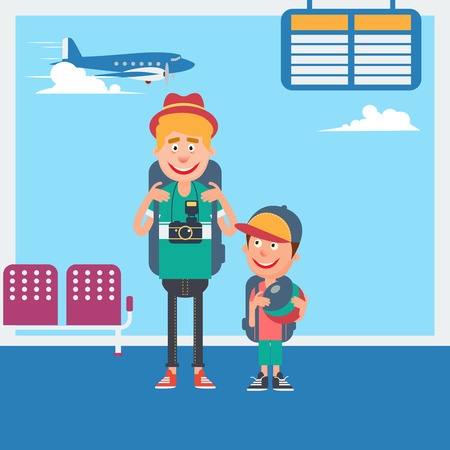 departure: Father and Son Waiting to Departure to the Vacation in Airport. Vector illustration