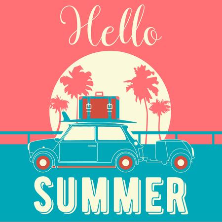 Hallo zomer vintage stijl banner. Tropische vakantie achtergrond met retro auto en palmbomen. Vector illustratie