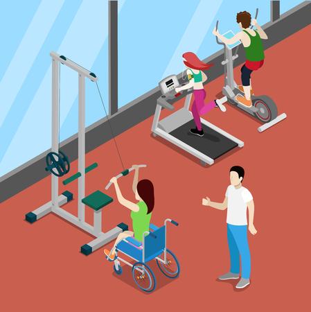 Désactiver femme sur l'exercice en fauteuil roulant Gym. Invalidité isométriques personnes. Vector illustration