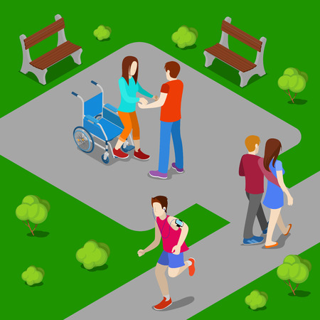 woman street: Disabled Woman on Wheelchair. Assistant Helping Woman Stand Up from Wheelchair. Isometric People. Vector illustration