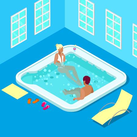 ricreazione: Ambientazione interna piscina con donna e uomo. Isometrici persone. illustrazione di vettore