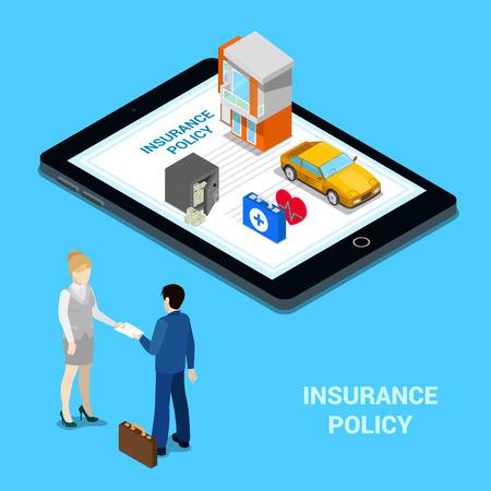 mujer con maleta: Concepto de seguro en línea. Servicios de seguros - Casa de Seguros, Seguro de coche, seguro médico, seguro de dinero. Las personas isométricas Vectores