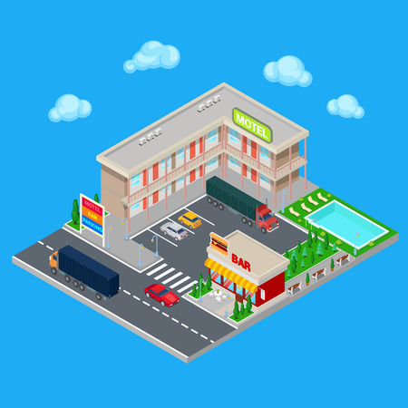 hotel pool: Isometric Motel with Parking Zone, Bar and Swimming Pool. Modern Road Hotel. Vector illustration Illustration