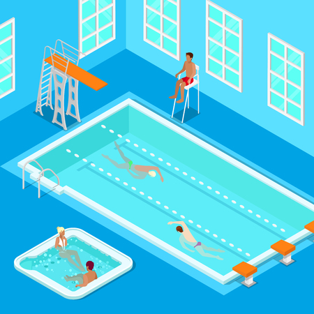 indoors: Indoors Swimming Pool with Swimmers